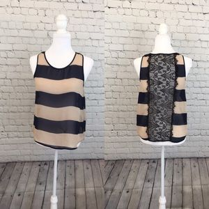 Monteau sheer stripe and lace sleeveless blouse